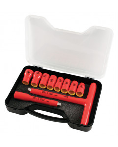 "Insulated 3/8"" Drive T-Handle and Metric Sockets 10 Piece Set"